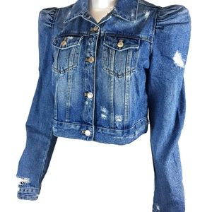 Zara Women's Denim Jacket With Puff Sleeves